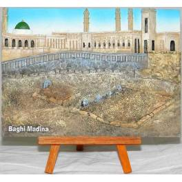 Islam Shia Medina Relief of Imams of Baqi Hand-Painted 3D Polyresin Picture on Table