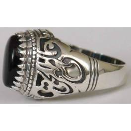 """Iran Islamic Hadith Imam """"Ali Stands with Truth"""" on Both Ring Sides Natural Onyx Black Agate Sterling Silver 925 Ring"""