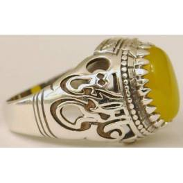 """Iran Islamic Hadith Imam """"Ali Stands with Truth"""" on Both Ring Sides Natural Yellow Agate Sterling Silver 925 Ring"""