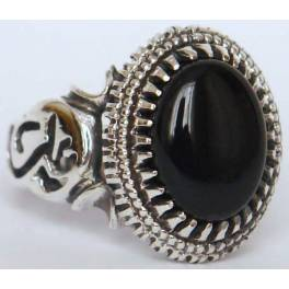 Iran Islam Shia Imam ALI Name on Rings Sides with Natural Onyx Black Agate Aqeeq Sterling Silver 925 Ring