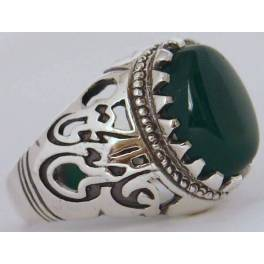 """Iran Islamic Hadith Imam """"Ali Stands with Truth"""" on Both Ring Sides Natural Chrysoprase Green Agate Sterling Silver 925 Ring"""