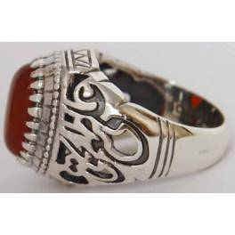 """Iran Islamic Hadith Imam """"Ali Stands with Truth"""" on Both Ring Sides Natural Agate Sterling Silver 925 Ring"""