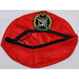 Iran Military Artesh Ground Forces Commandos Red Beret Hat & Patch