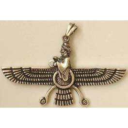 Iran Persia Double-Sided Sterling Silver 925 Zoroastrian Farvahar Wing Necklace Pendant